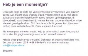 Melding die bezoekers van independer.nl kunnen krijgen als ze achter een CGN zitten.